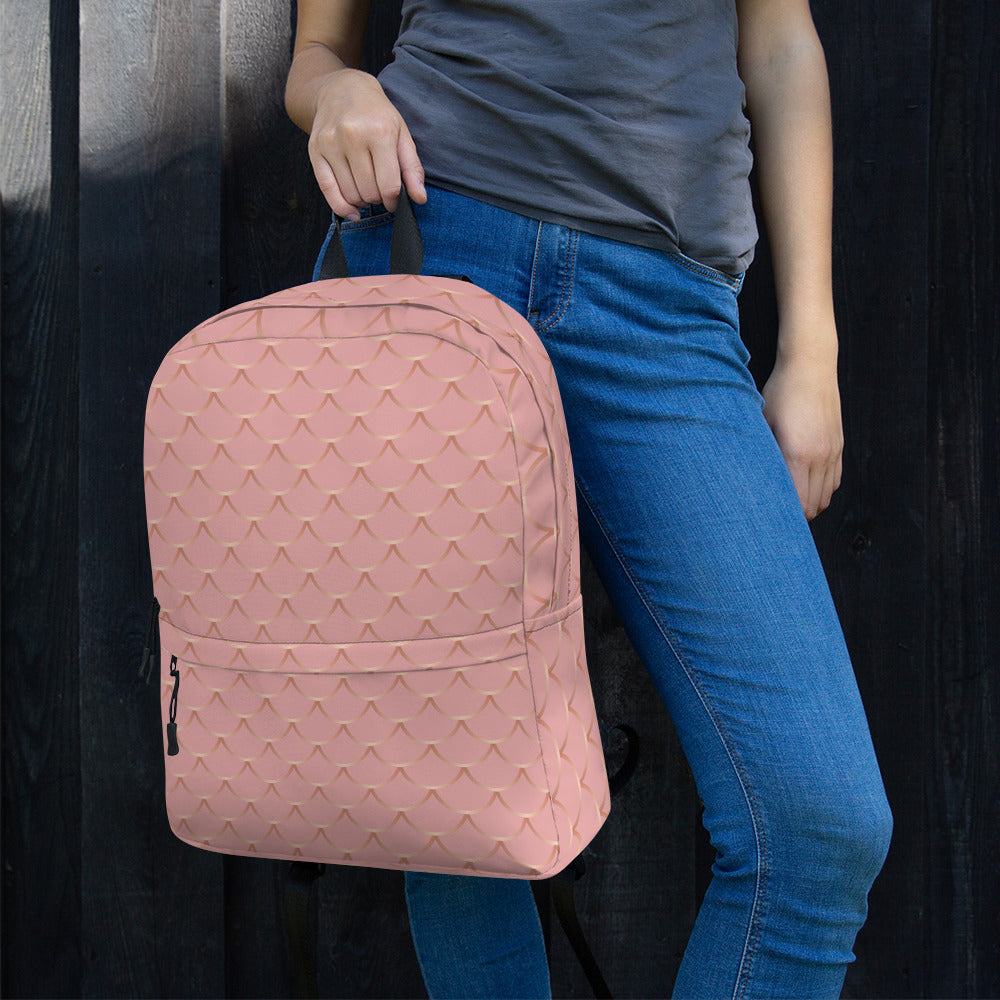 Rose and Gold Fish Skin Backpack
