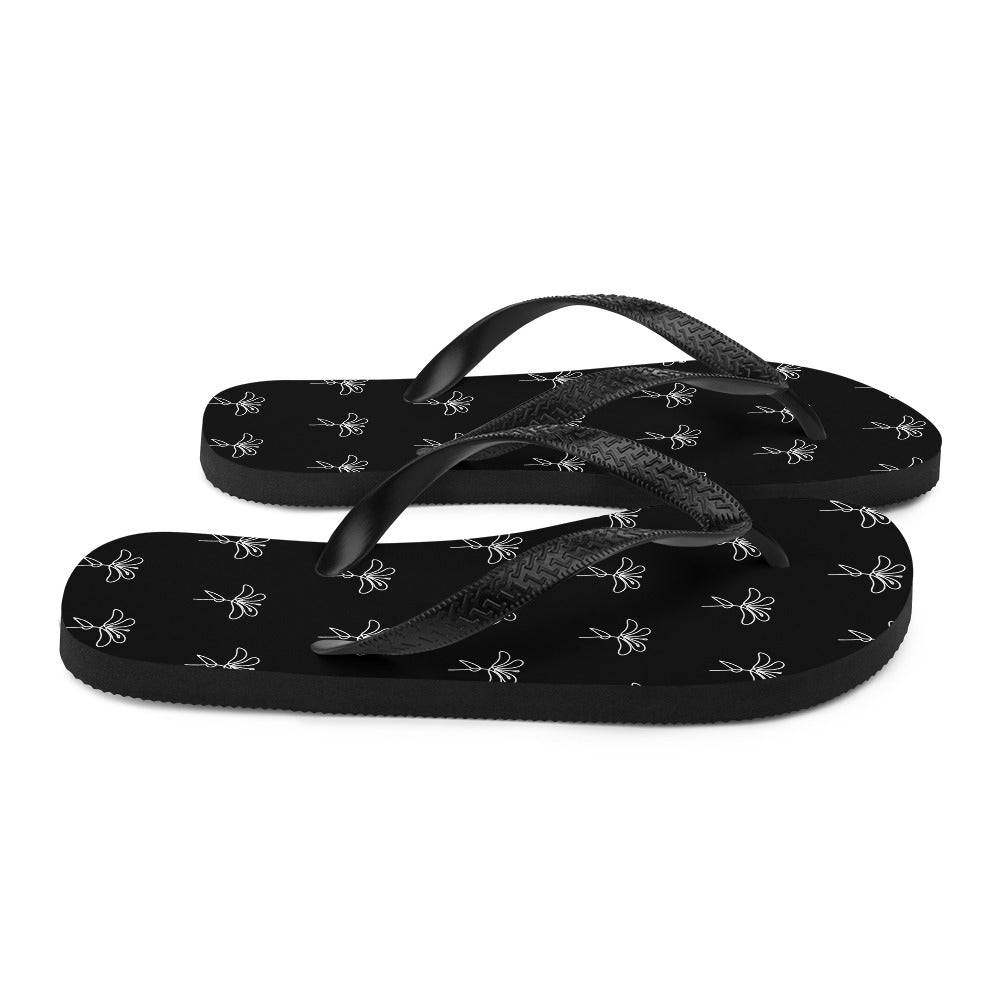 Black and White Floral Flip-Flops