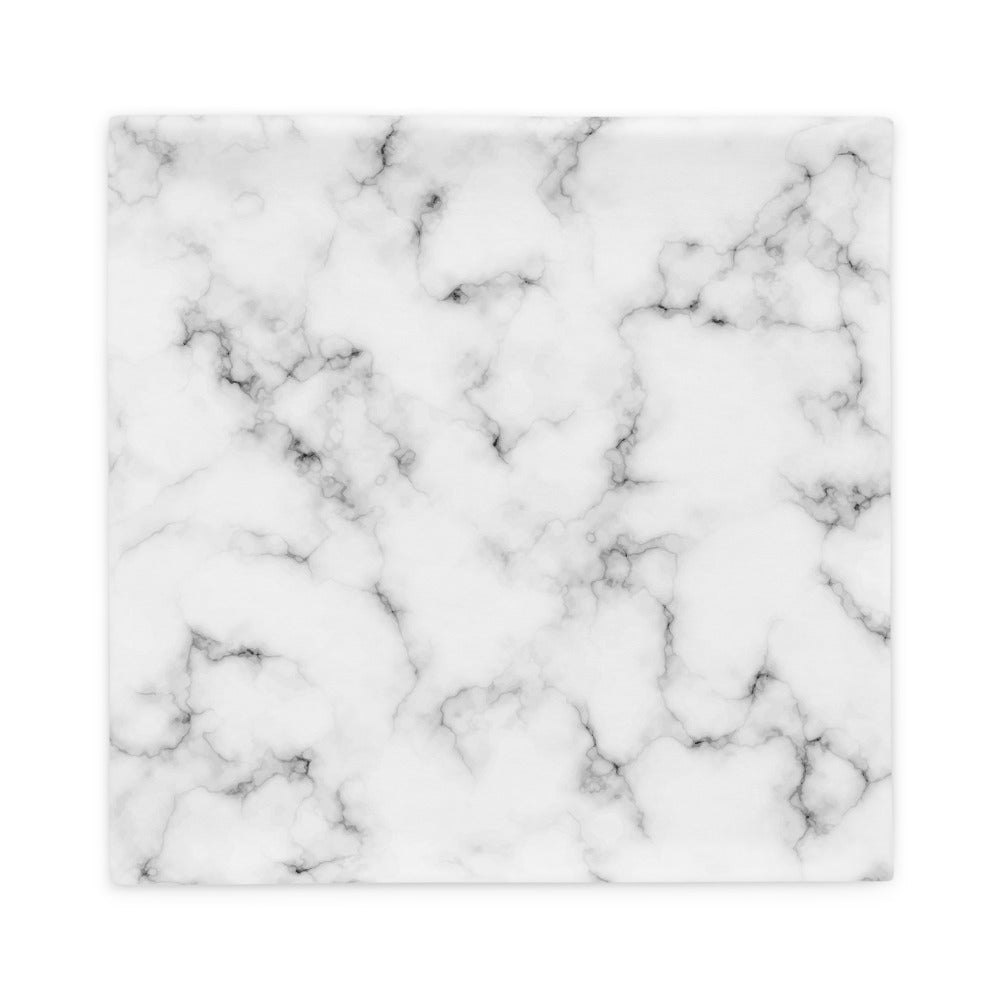 White and Silver Marble Texture Pillow Case