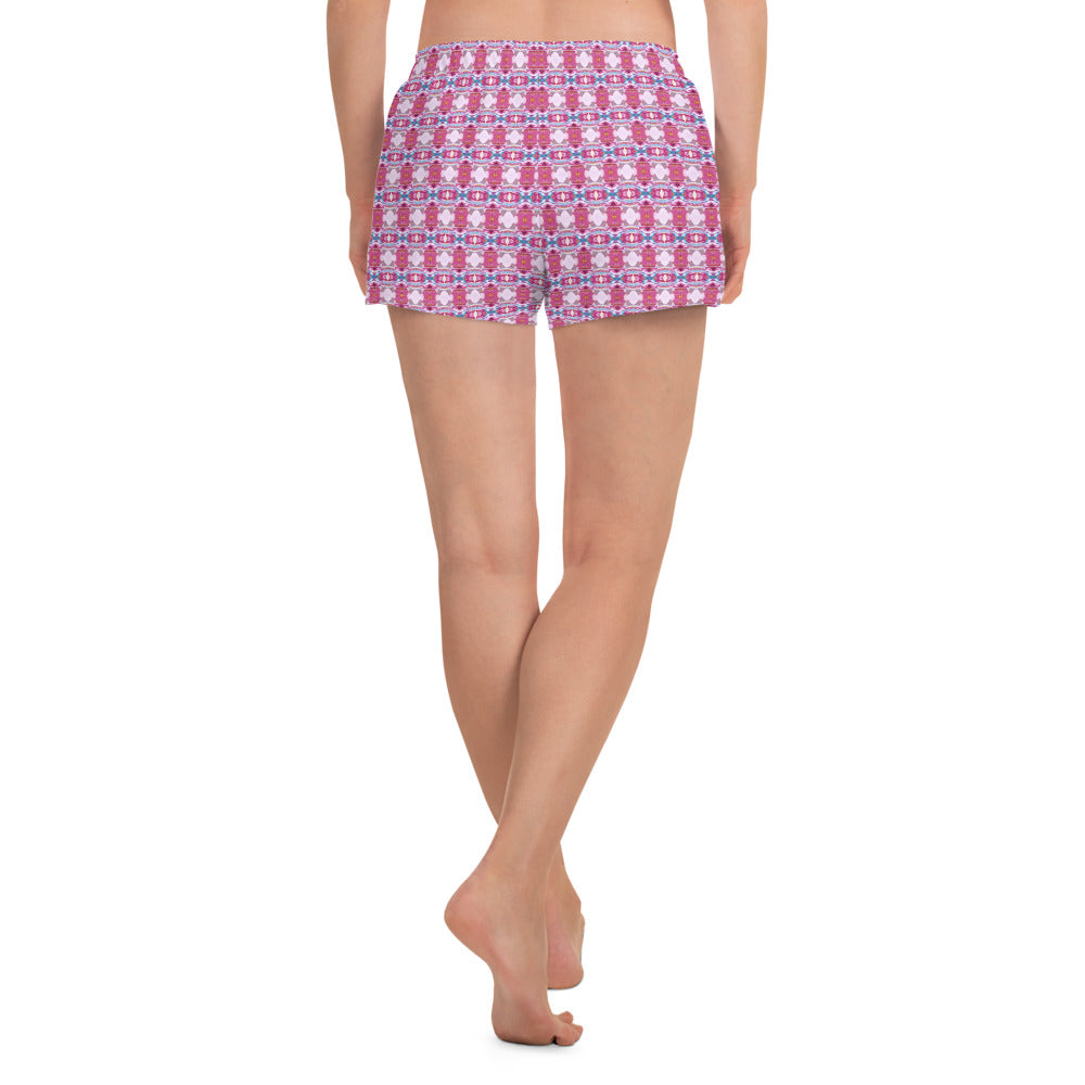 Pink and white Seamless Pattern Athletic Shorts for Women