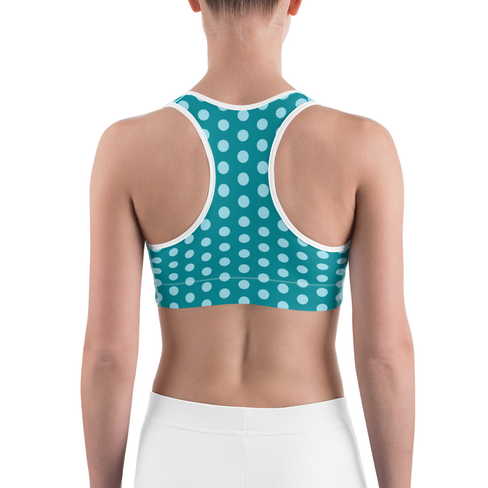 Teal and Sky Blue Polka Dot Sports bra