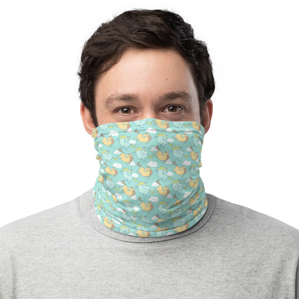 Blue Unicorn Face Mask Neck Gaiter