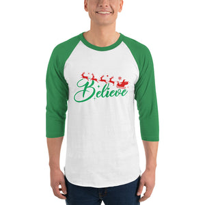 man wearing green and white 3 4 sleeve raglan t shirt with believe reindeer santa christmas graphics
