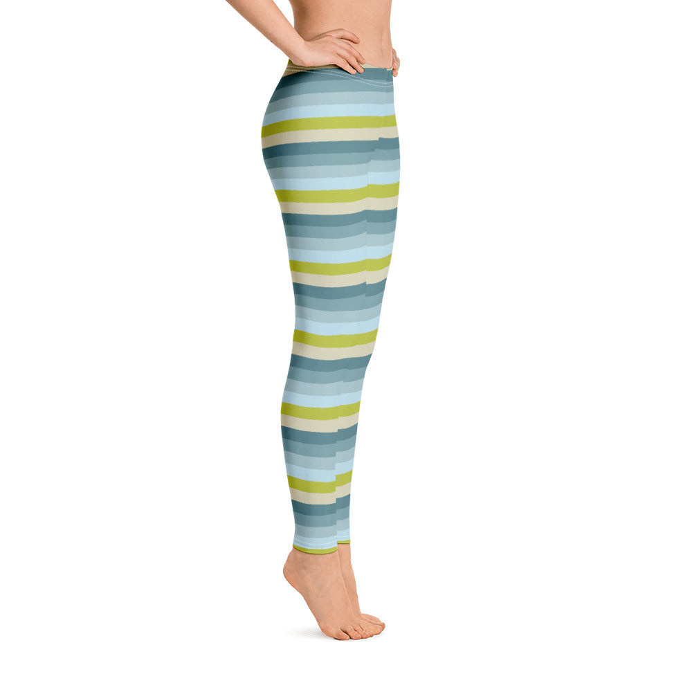 Lemon Green Striped Leggings for Women Right