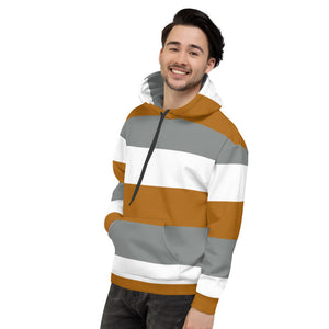 Brown Grey and White Hoodie for Men