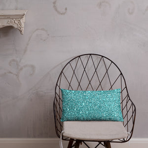 Blue Glittery Throw Pillow