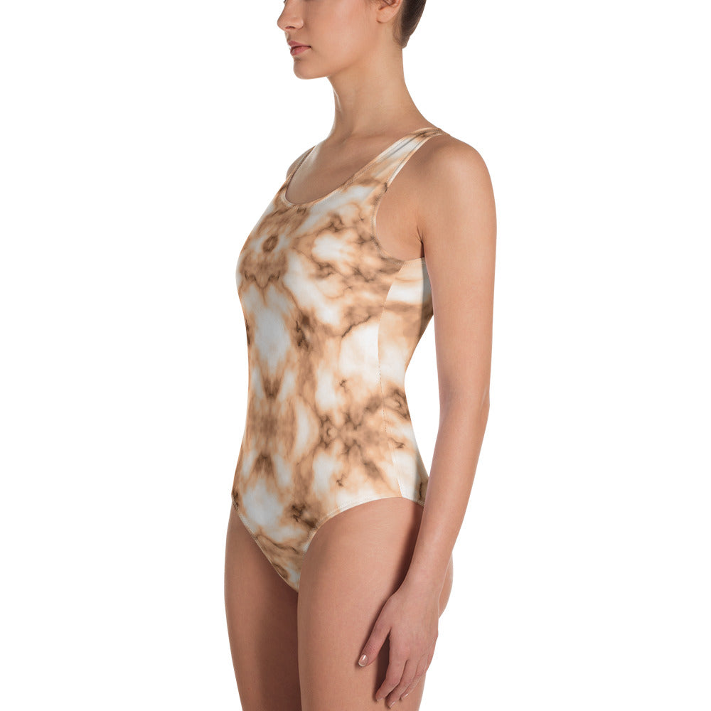 Brown and white Marble One-Piece Swimsuit