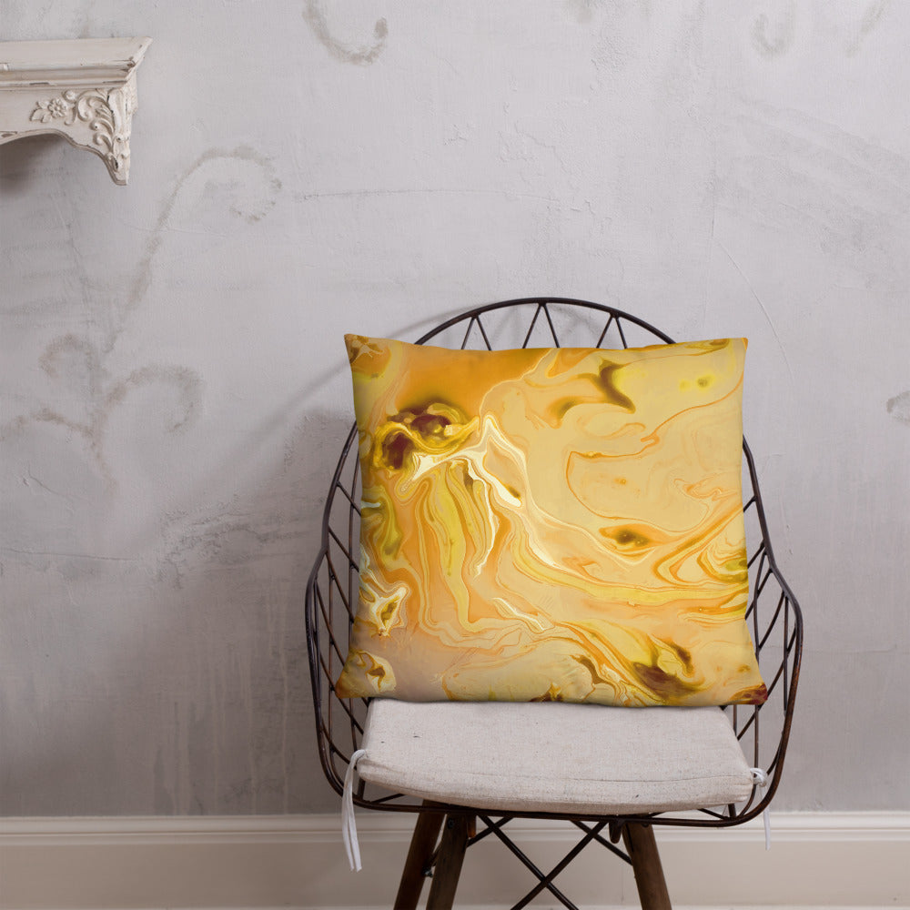 Yellow Marble Print Throw Pillow