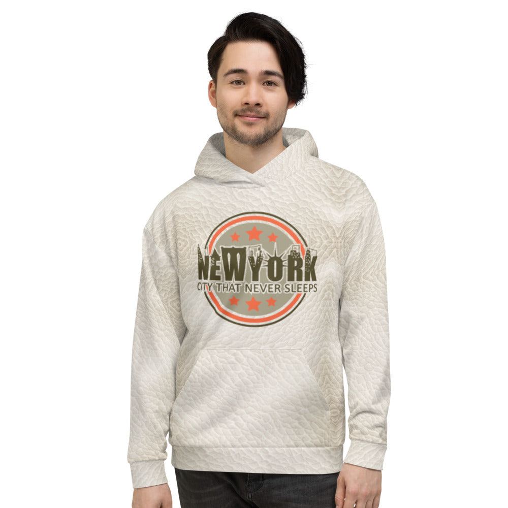New York White Leather Hoodie mens