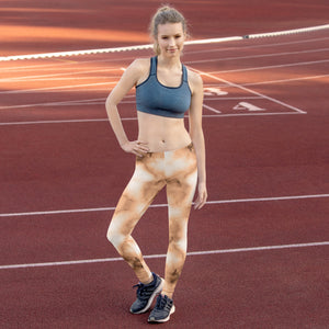 Brown and cream Marble Leggings for Womens Running