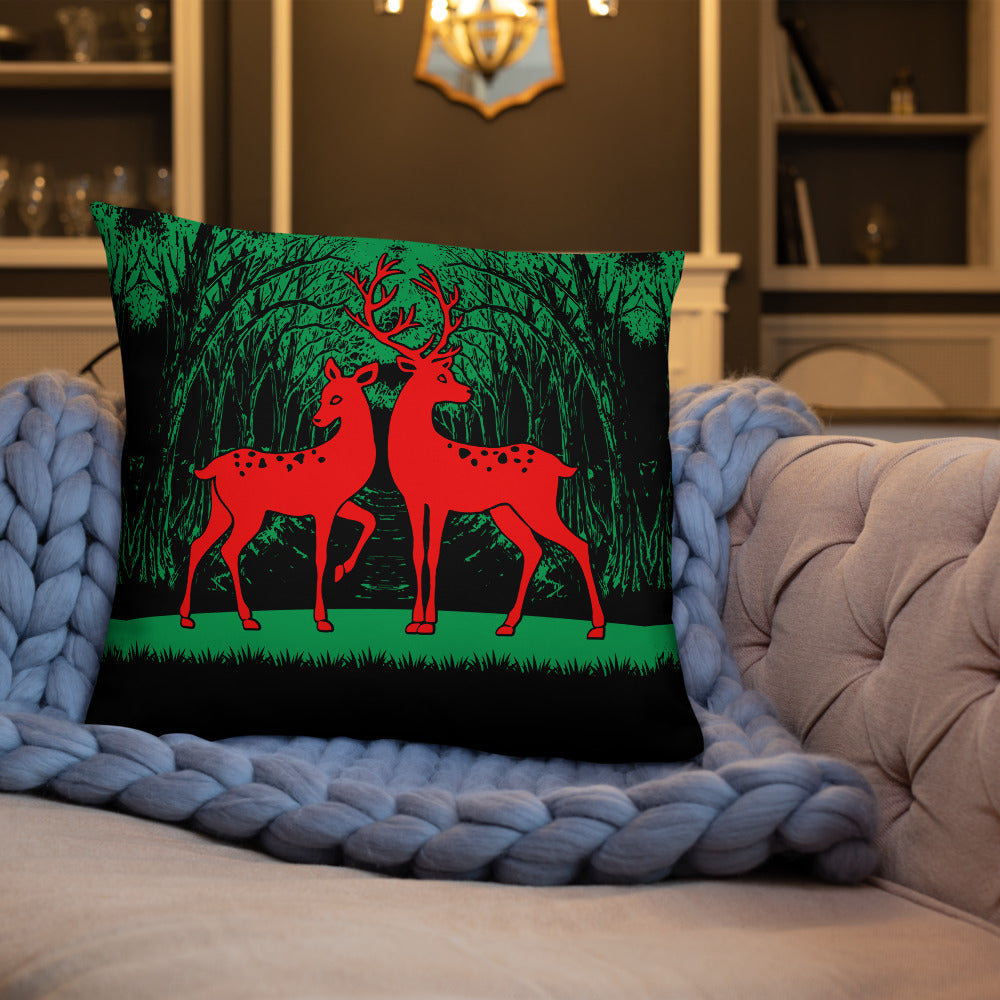 Forest Wild Deer Throw Pillow