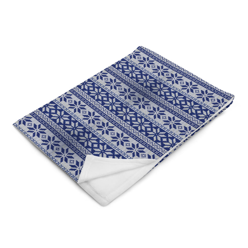 Blue and silver White Winter Throw Blanket