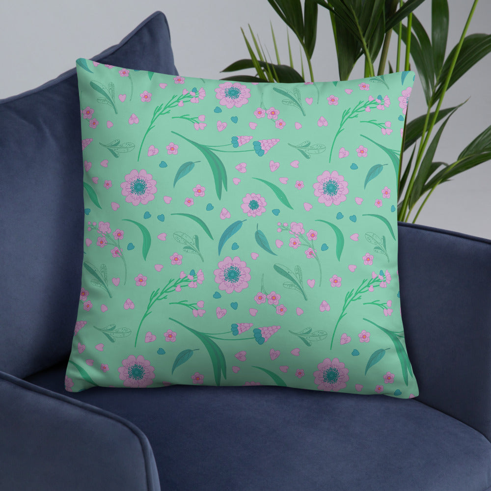 Mint Green Purple Pink Floral Double-sided Throw Pillow