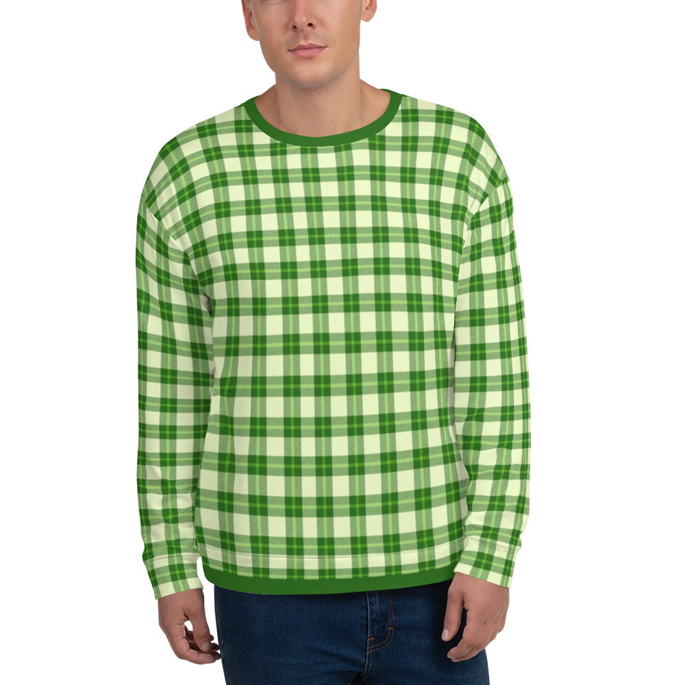 Green And Cream Plaid Unisex Sweatshirt