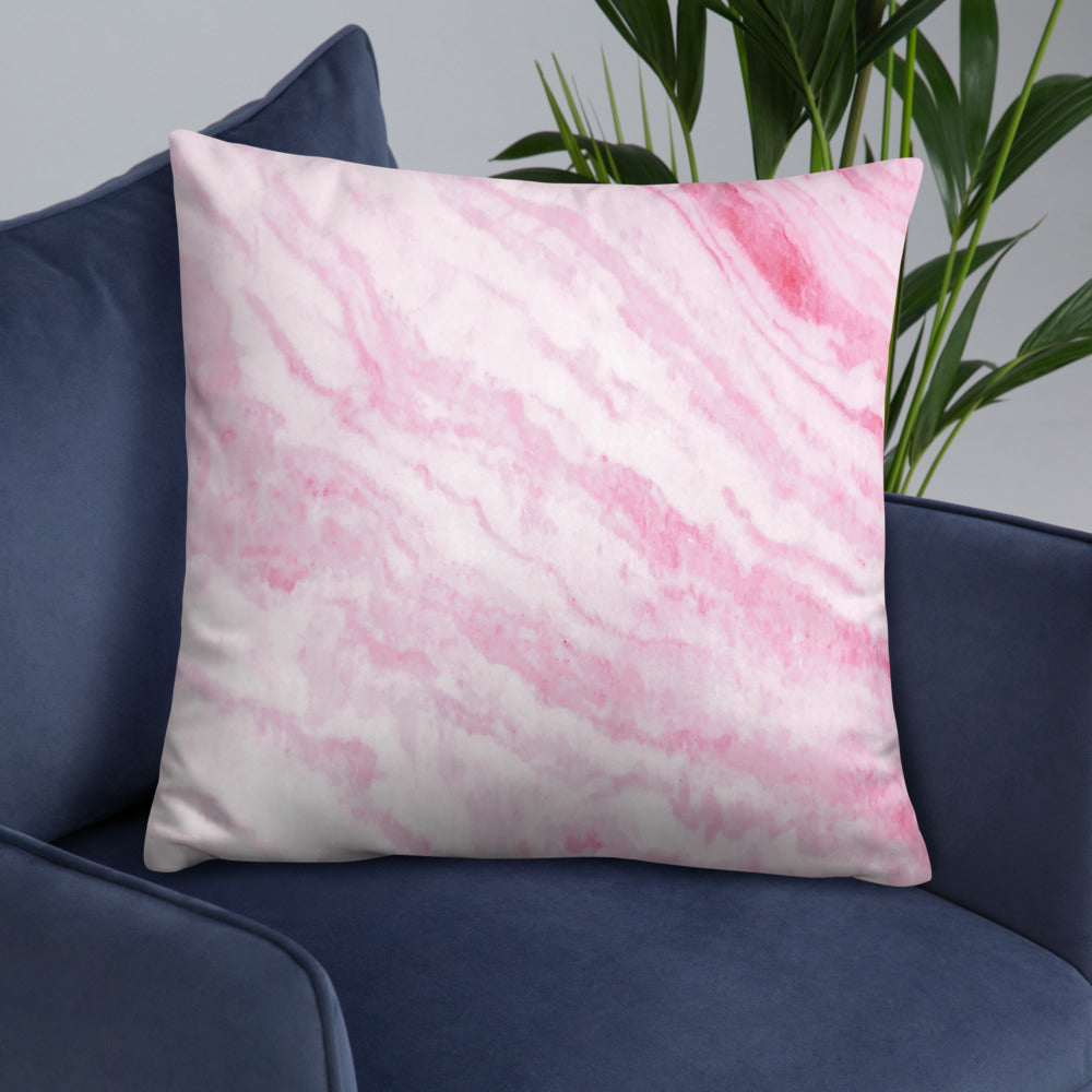 Pink Marble Texture Throw Pillow