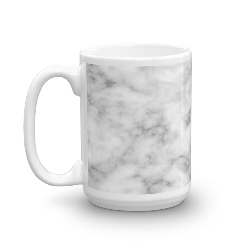 White and Silver Marble Pattern Coffee Mug