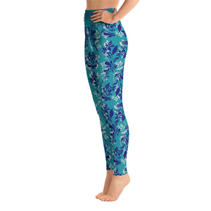 Blue floral Yoga Leggings