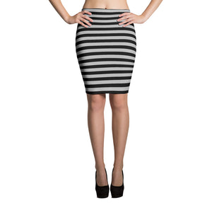 Black and Grey Striped Pencil Skirt