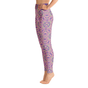 Spring Pattern Purple Pink Yoga Leggings