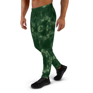 Dark Green Marble Pattern Joggers for Men
