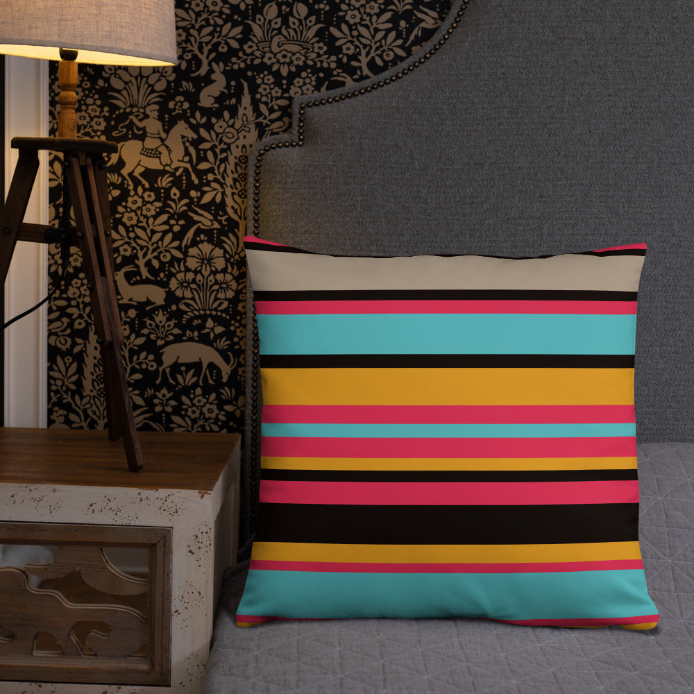 Colorful Striped Throw Pillow