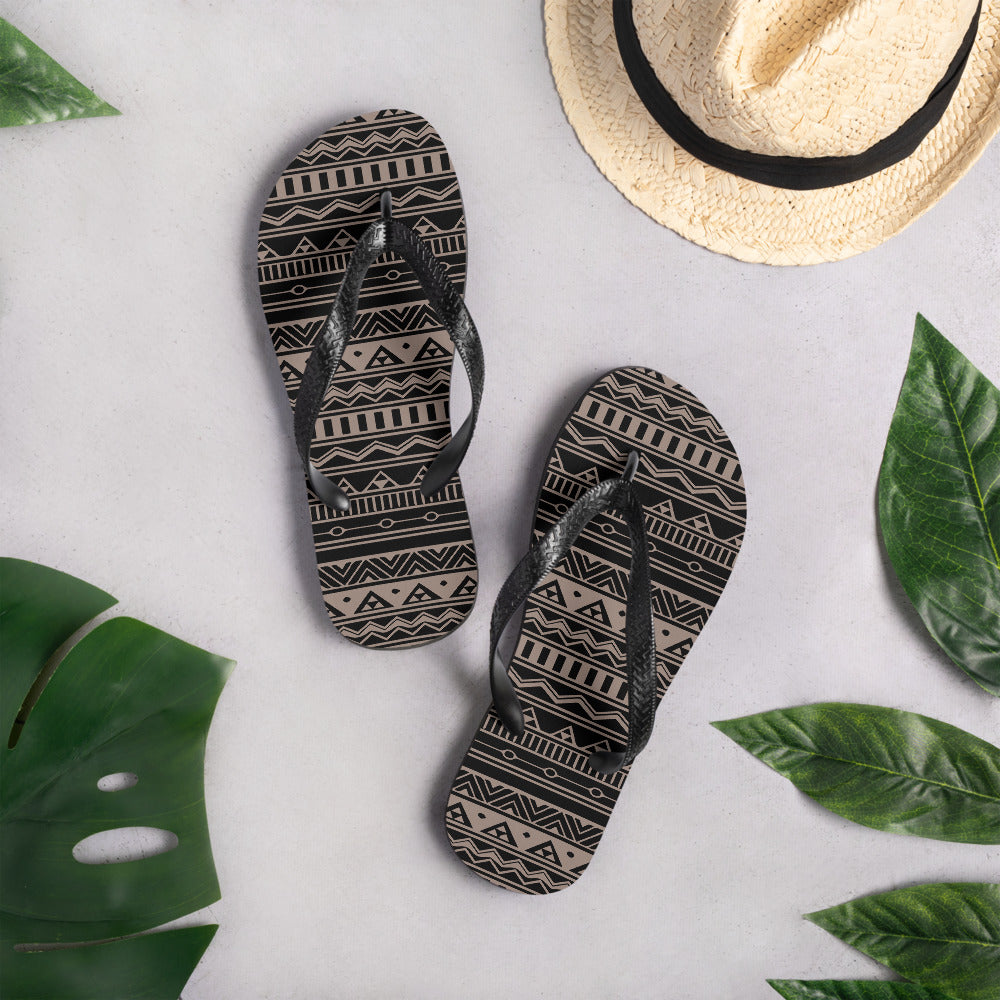 Black and Nude Ethnic Flip-Flops