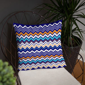 Blue Zigzag Abstract Throw Pillow