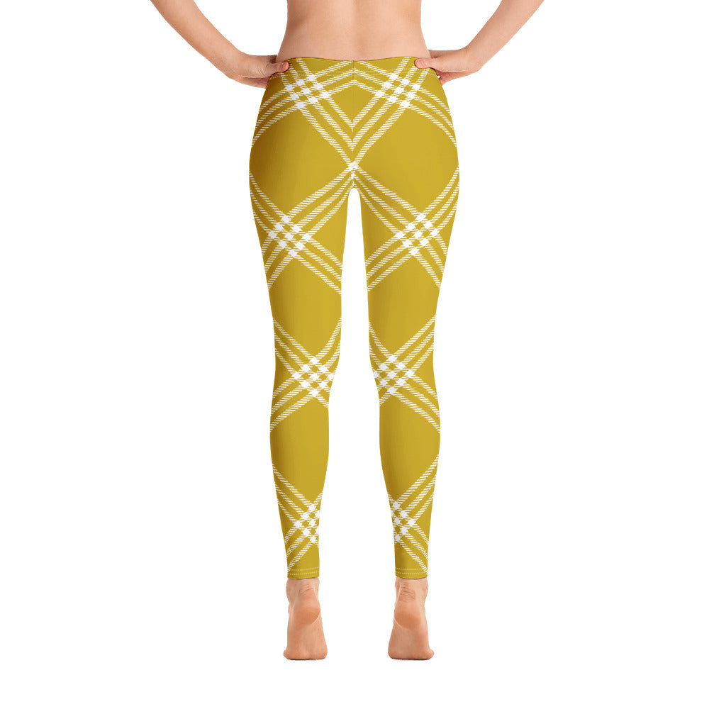yellow and green plaid leggings for women