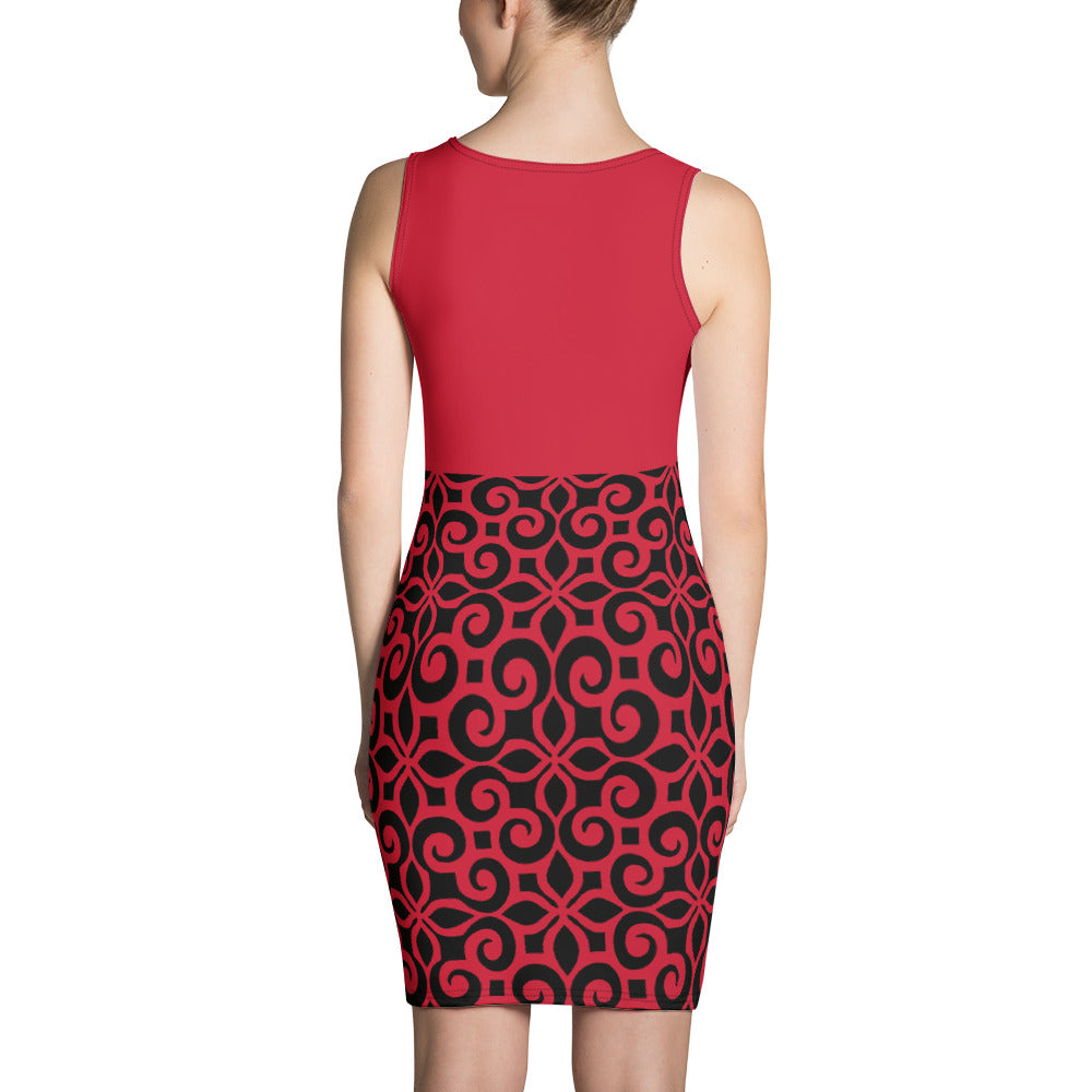 Red and Black Floral Print Dress