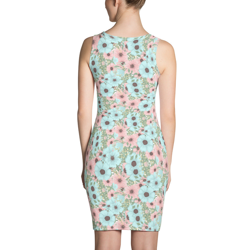 Blue Pink Mint Floral Dress