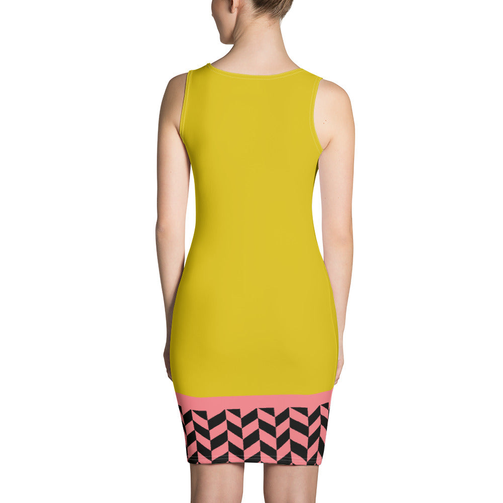 Yellow Pink and Black Seamless Dress