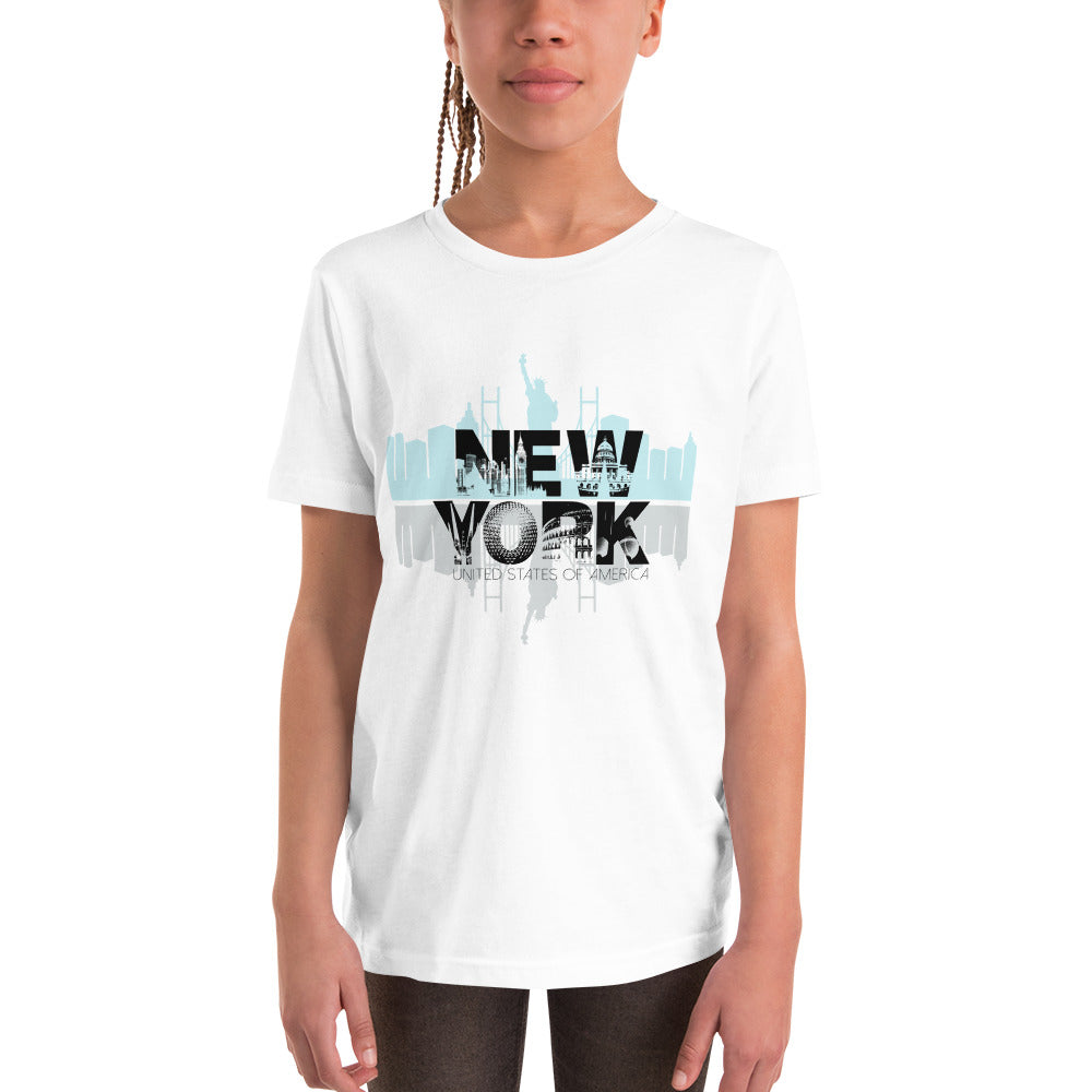 New York White T-Shirt for Girls