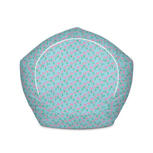 Spring Floral Baby Blue Bean Bag Chair w/ filling