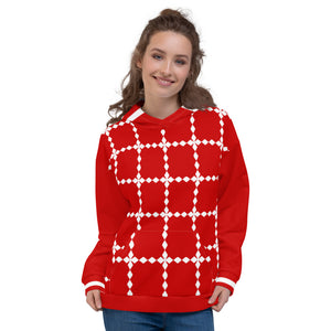 Red and White Winter Holiday Unisex Hoodie