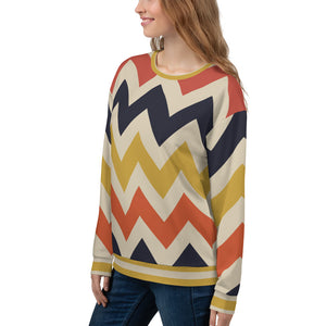 Vintage Chevron Zigzag Lines Sweatshirt for Women