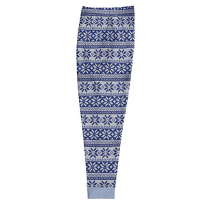 Blue and White Winter Pattern Men's Joggers