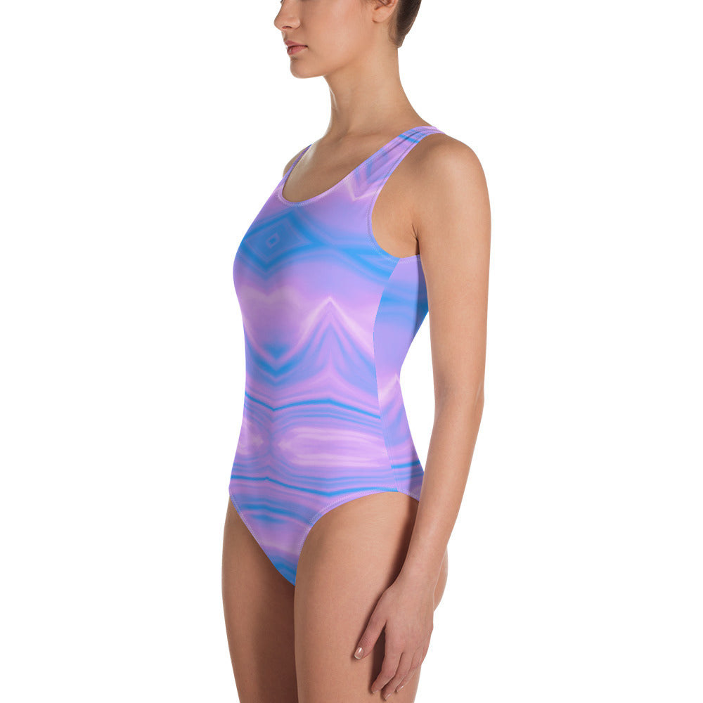 Blue and Purple Marble One-Piece Swimsuit