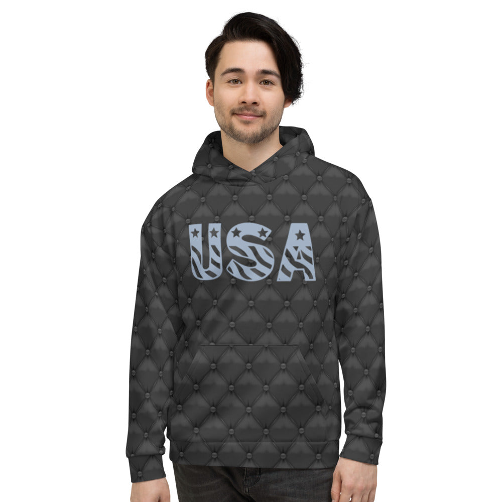 USA Black Leather Hoodie