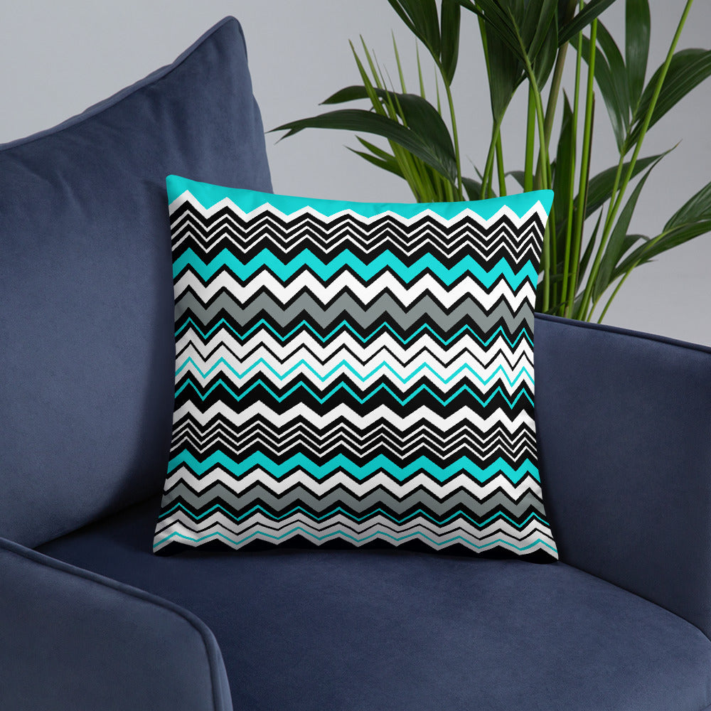Cyan Abstract Zigzag Pattern Throw Pillows