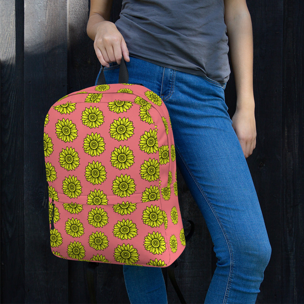Pink Yellow Sunflower Backpack