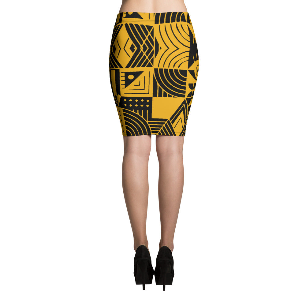 Yellow and Black Abstract Pattern Pencil Skirt