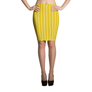 Yellow And White Striped Pencil Skirt