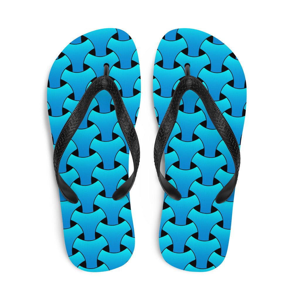 Weaving Seamless Pattern Sky Blue Flip-Flops