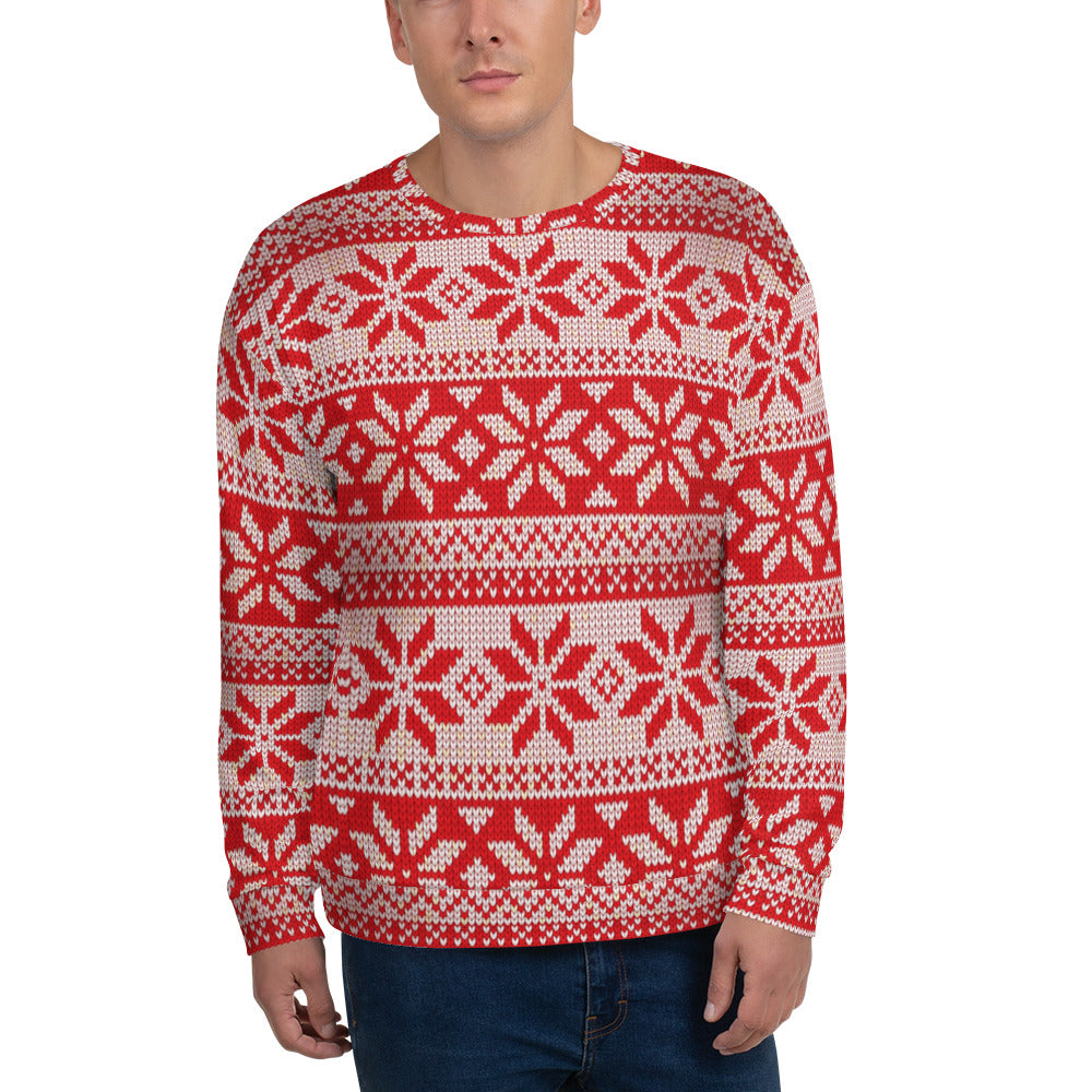 Christmas Pattern Red Sweatshirt for Men
