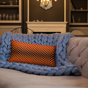Orange Leather Throw Pillow