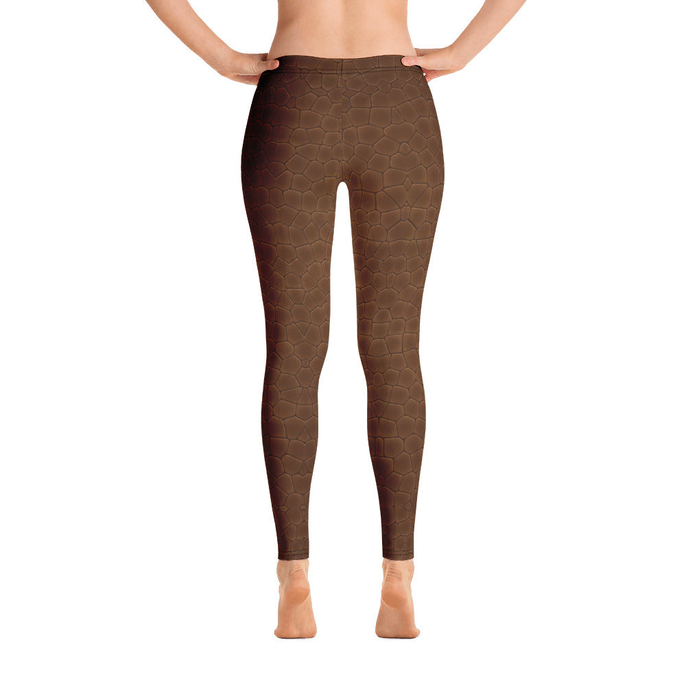 Copper Brown Leather Print Leggings