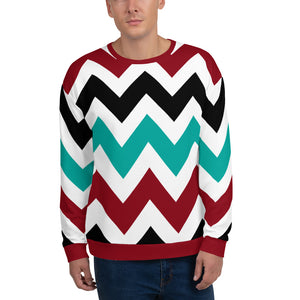 Red and Black Zigzag Pattern Sweatshirt for Men