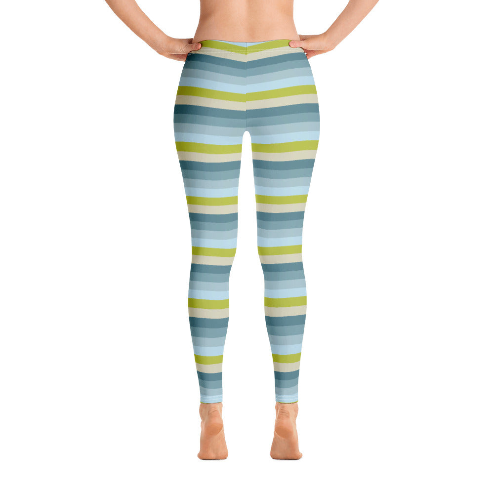 Lemon Green Striped Leggings for Women Back