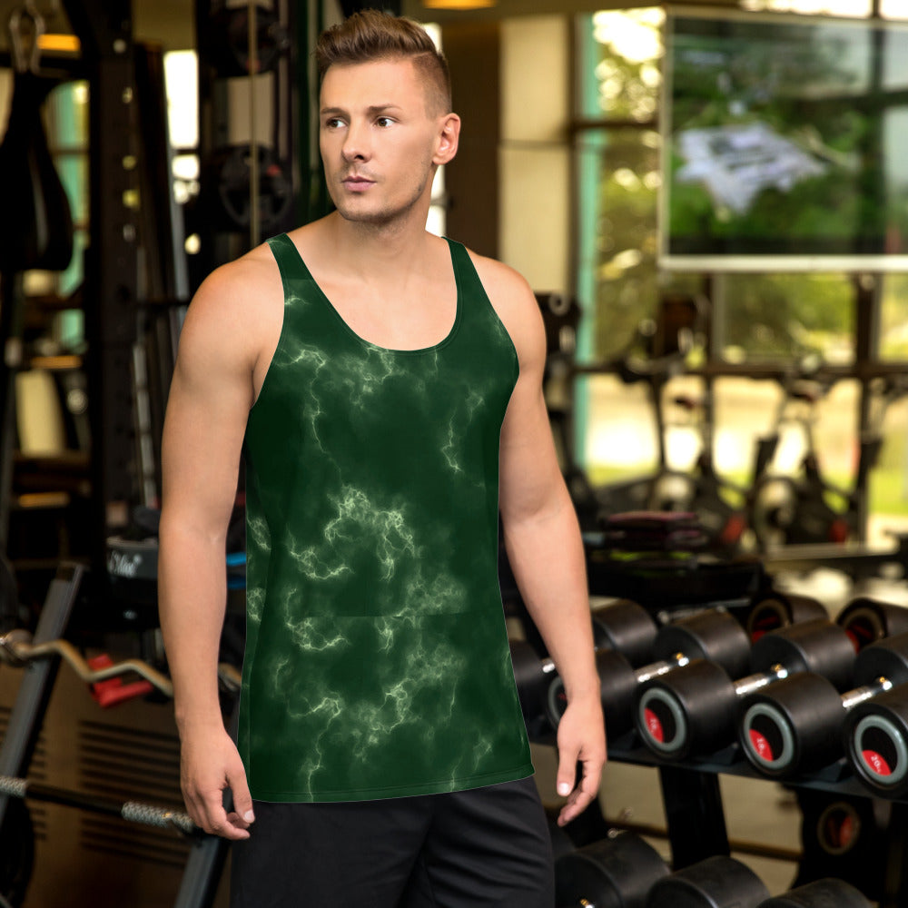 Dark Green Marble Unisex Tank Top