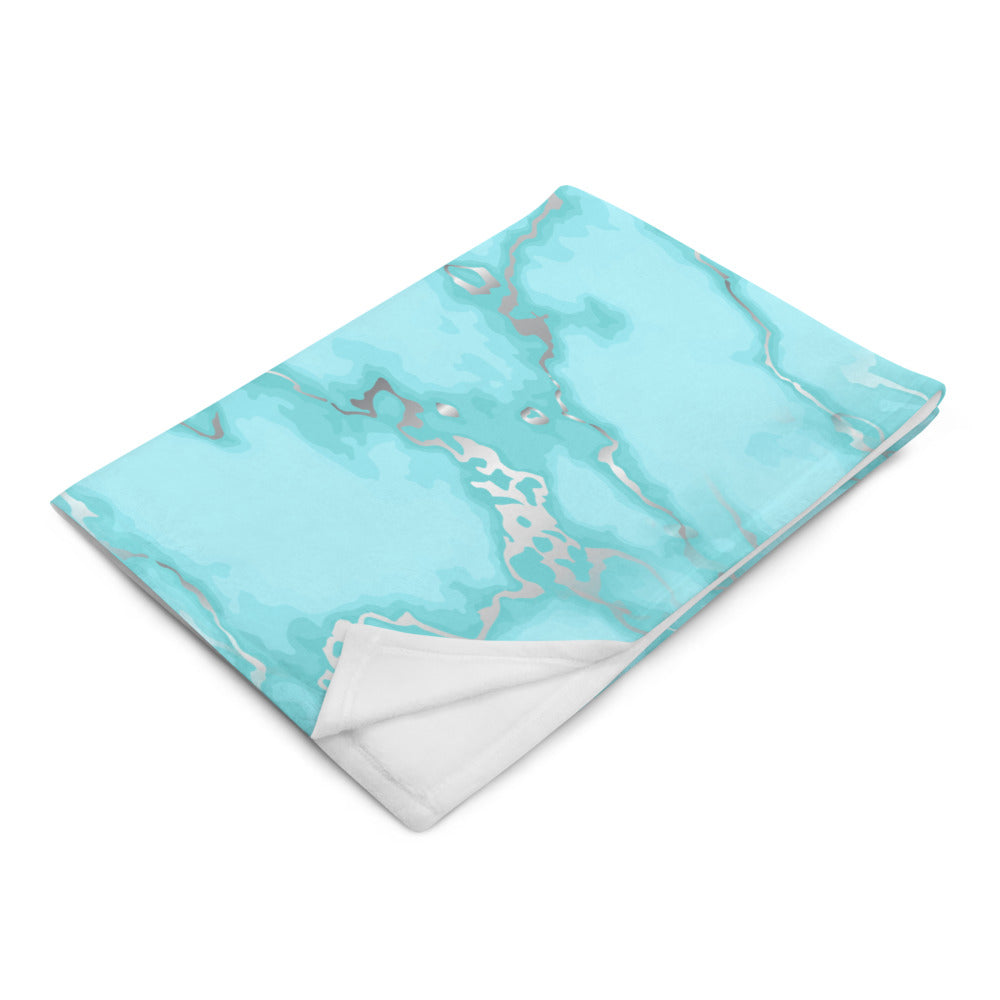 Aqua Blue and Silver Marble Throw Blanket